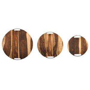 rosenholz servierplatten rund in verschiedenen groessen