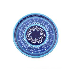 handgefertigter keramikteller blau 28cm