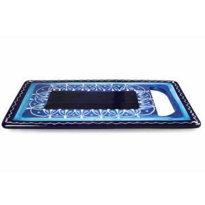 handgefertigte servierplatte keramik blau