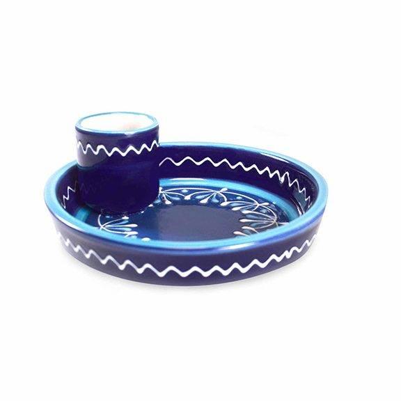 keramik oliventeller blau