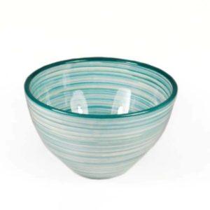 keramikschale mit linienmuster 16cm petrol